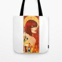 klimt Tote Bags featuring KLIMT GIRL by Lorena Carvalho