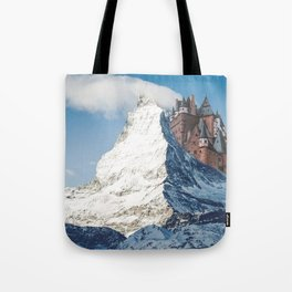 Castle on the Hill Matterhorn and Burg Eltz Castle in Germany Tote Bag