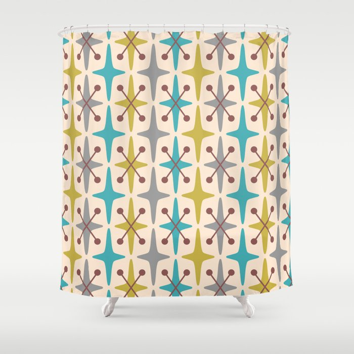 Mid Century Modern Abstract Star Pattern 441 Gray Brown Turquoise Olive Green Shower Curtain