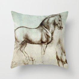 "Leonardo da Vinci ""Gran Cavallo"" Throw Pillow"