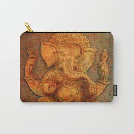 Lord Ganesh On a Distress Stone Background Carry-All Pouch
