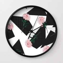 Polka Dots And Flowers Wall Clock