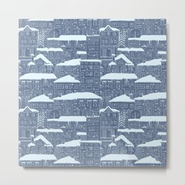 Winter town pattern Metal Print