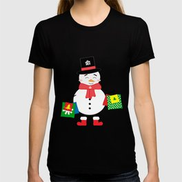 Happy Snowman with shopping bags T-shirt