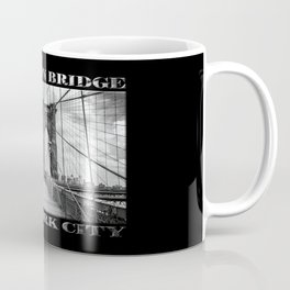 Brooklyn Bridge New York City (black & white with text on black) Coffee Mug