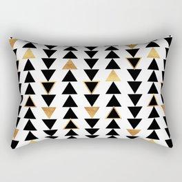 Geometric Triangle Print - Black White and Gold Rectangular Pillow