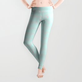 Merry aqua christmas - Funny abstract lines and dots on turquoise backround Leggings