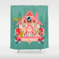 valentines Shower Curtains featuring I'm Cuckoo For You - Valentines Cuckoo Clock  by Andrea Lauren Design
