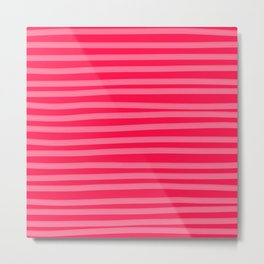 Fuchsia Brush Stroke Stripes Metal Print