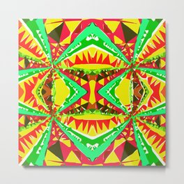 psychedelic geometric abstract pattern background in yellow red green Metal Print