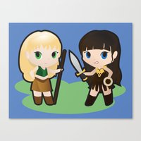 xena Canvas Prints featuring Geek Babies: Xena & Gabrielle by Deanna Marie: Art & Design
