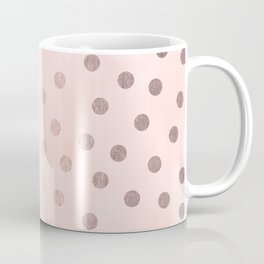 Rose Gold Pastel Pink Polka Dots Coffee Mug
