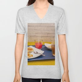 Breakfast with maple syrup pancakes Unisex V-Neck