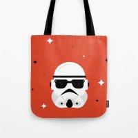 trooper Tote Bags featuring Trooper by Bogdan Rosu
