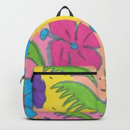 Rainbow Hibiscus and Monstera Leaves Backpack
