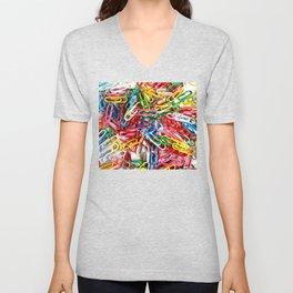 Colorful paper clips on white background. Unisex V-Neck