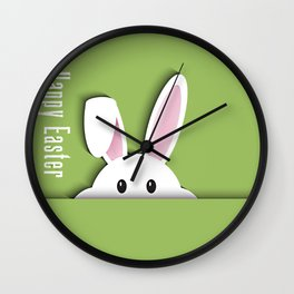 Easter background with cute bunny Wall Clock