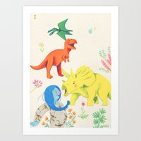 dinosaurs Art Prints featuring Dinosaurs by Maria Garcia