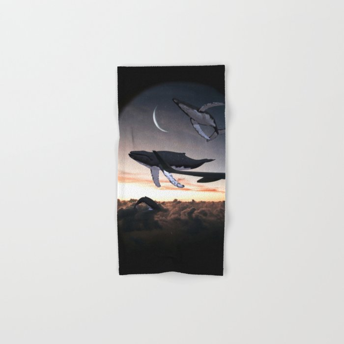 Whales Flying Above The Clouds-Looking Out The Window Hand & Bath Towel