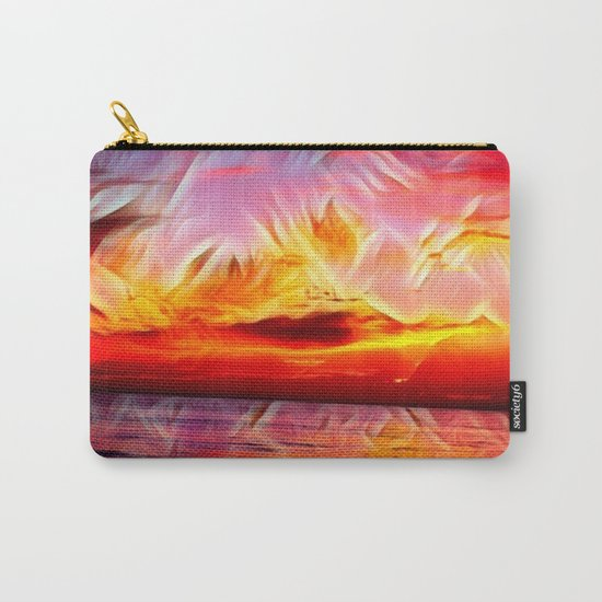 Sky on Fire (Sunset over Great Lake Michigan Beach) Carry-All Pouch