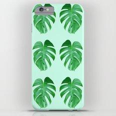 Green Monstera Leaf Pattern Slim Case iPhone 6s Plus