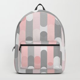 pink and gray round rectangle Backpack