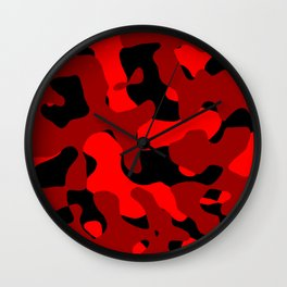 Black and Red Camo abstract Wall Clock