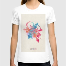 London, United Kingdom Colorful Skyround / Skyline Watercolor Painting T-shirt