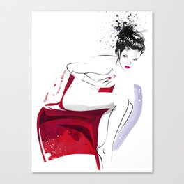 Naked Beauty, Nude Body, Fashion Painting, Fashion IIlustration, Vogue Portrait, Red colour, #14 Canvas Print
