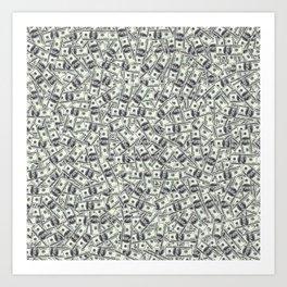 Giant money background 100 dollar bills / 3D render of thousands of 100 dollar bills Art Print
