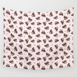 Pink Raccoon Valentine's  Wall Tapestry
