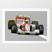 senna Art Prints featuring Ayrton Senna by Jack Alexander