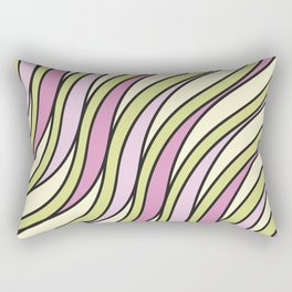 Abstract green and pink waves Rectangular Pillow