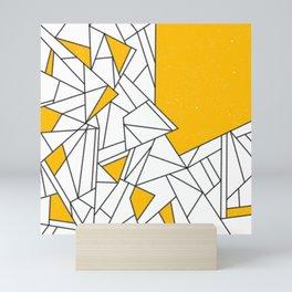 Black and Yellow geometric pattern Mini Art Print