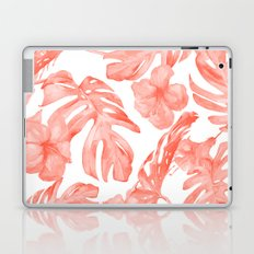 Tropical Hibiscus and Palm Leaves Dark Coral White Laptop & iPad Skin
