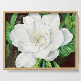Watercolor Gardenia Serving Tray