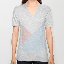 Modern pastel pink blue white geometrical triangles Unisex V-Neck