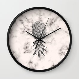 Marble Texture Seamless Pattern Pineapple 052 Wall Clock