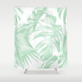 Light Green Tropical Palm Leaves Print Shower Curtain
