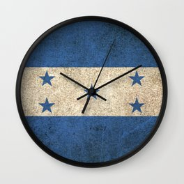 Old and Worn Distressed Vintage Flag of Honduras Wall Clock