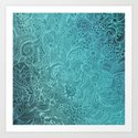 Detailed zentangle square, blue colorway by camcreative