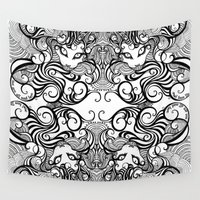 cheshire cat Wall Tapestries featuring cheshire cat by vasodelirium
