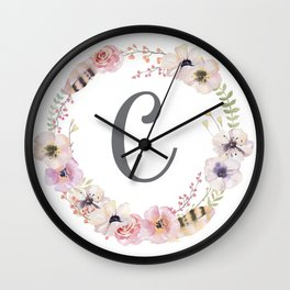Floral Wreath - C Wall Clock