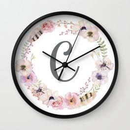 Floral Wreath - C Wall Clock