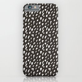 Black and White Ink Dot Pattern iPhone Case