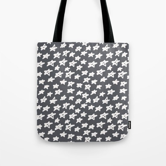 Stars on grey background Tote Bag