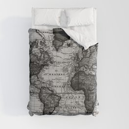 Vintage Map of The World (1833) White & Black Comforters