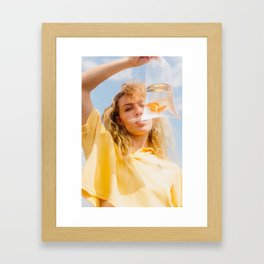 Girl with Goldfish Framed Art Print