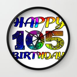 105th Birthday Party , 105 years old Wall Clock
