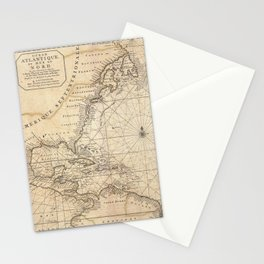 1683 Map of North America, West Indies, and Atlantic Ocean Stationery Cards